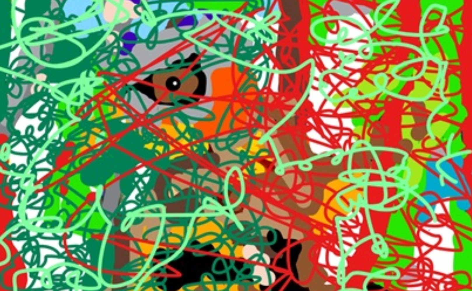 an eye in an abstract jungle